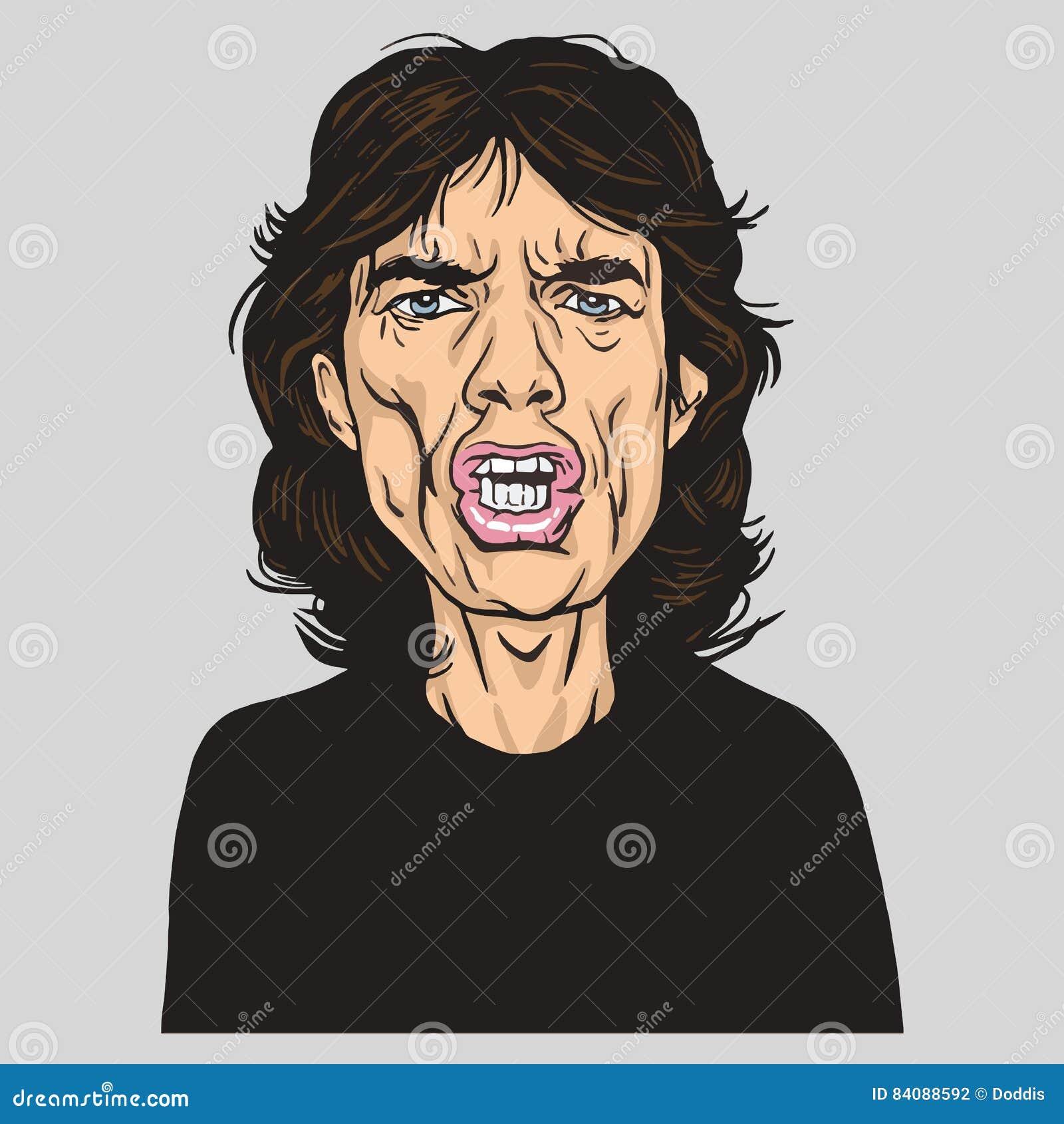 Caricatura de Mick Jagger Vector Portrait Illustration