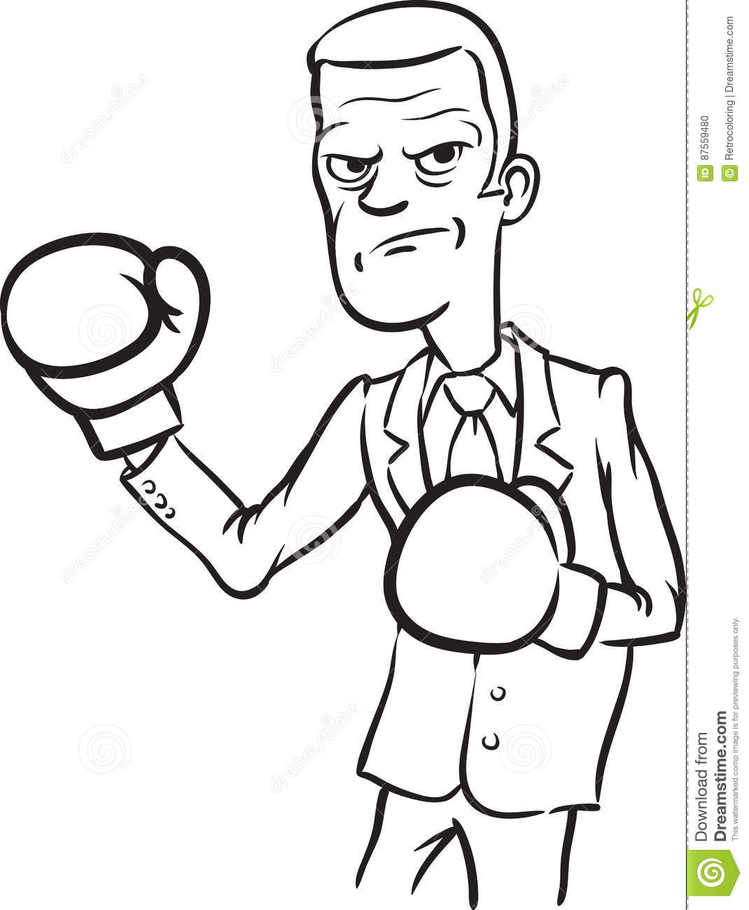 Caricature Angry Businessman With Boxing Gloves Stock Vector ...
