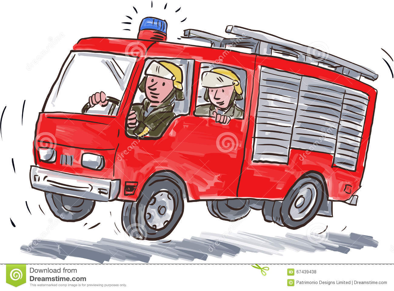 caricature rouge de pompier de camion de pompiers Firefighter Fighting Fire Firefighters Fire Engine Clip Art