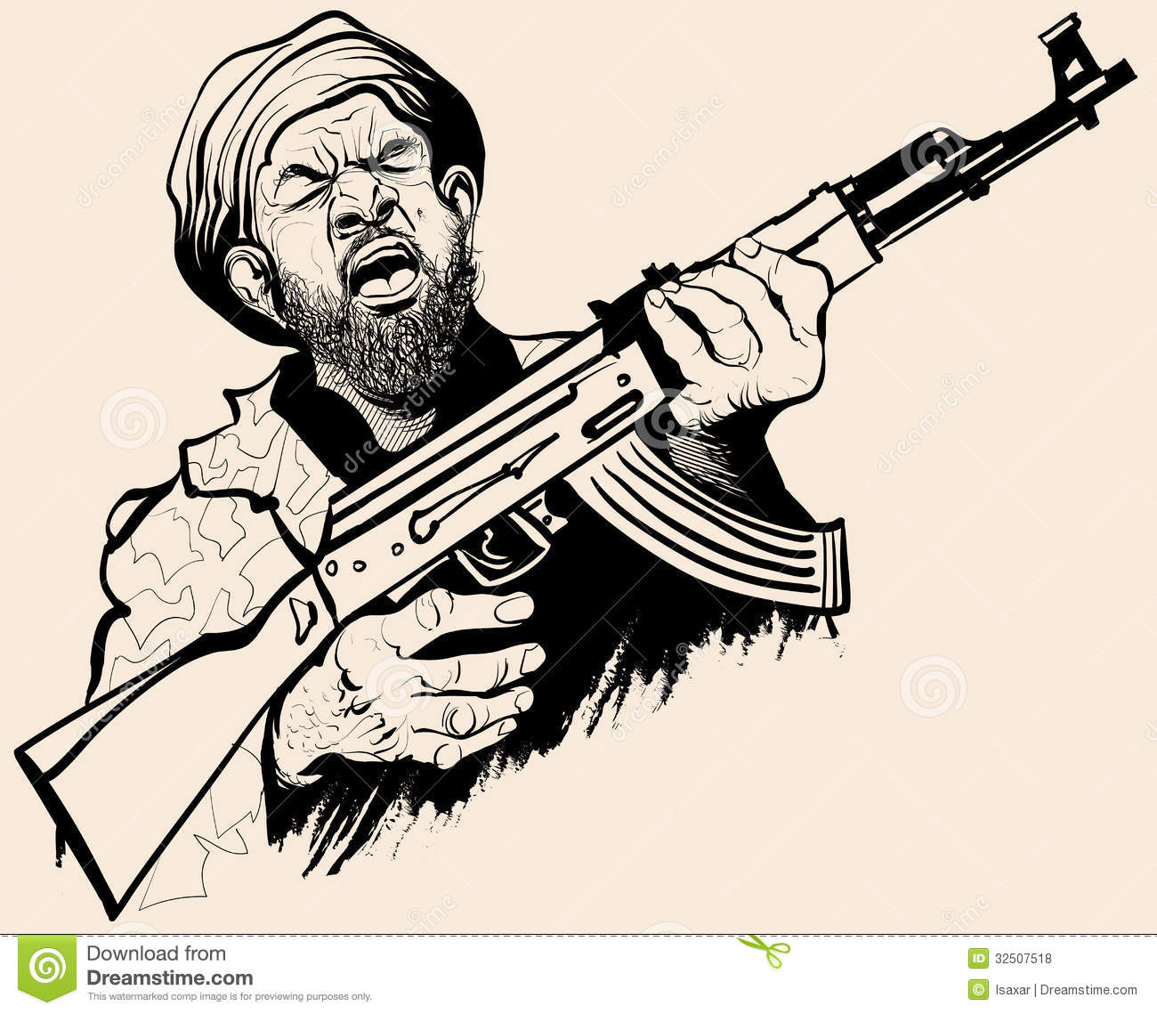 Caricature Of A Terrorist Royalty Free Stock Photos - Image: 32507518