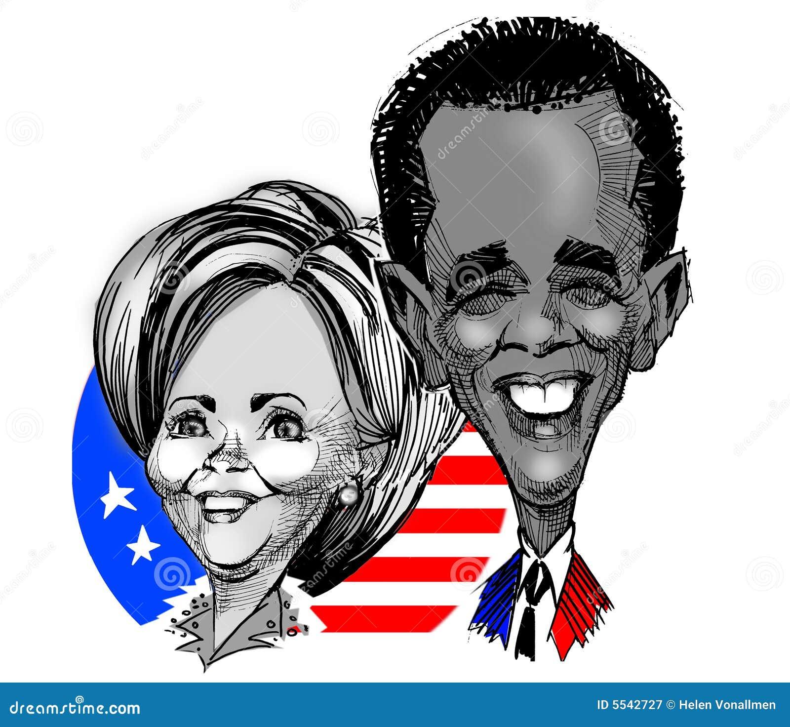 Caricatures - Clinton / Obama
