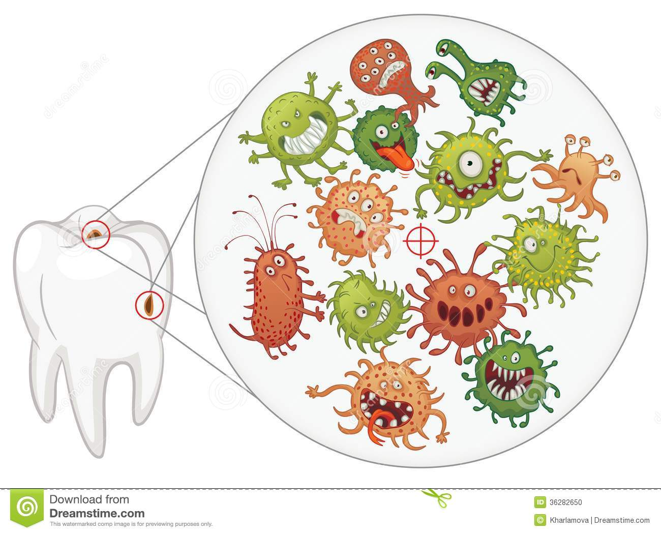 Caries Funny Bacteria And Tooth Stock Vector Image
