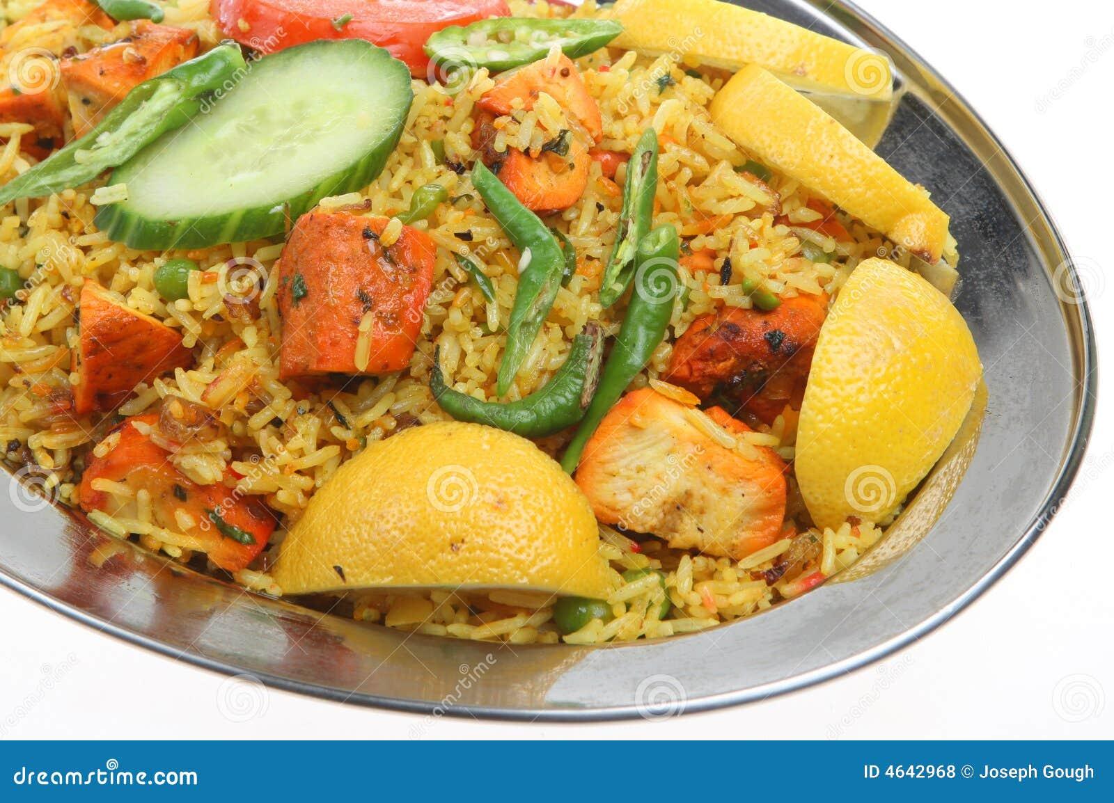 Caril indiano de Tikka Biriani da galinha