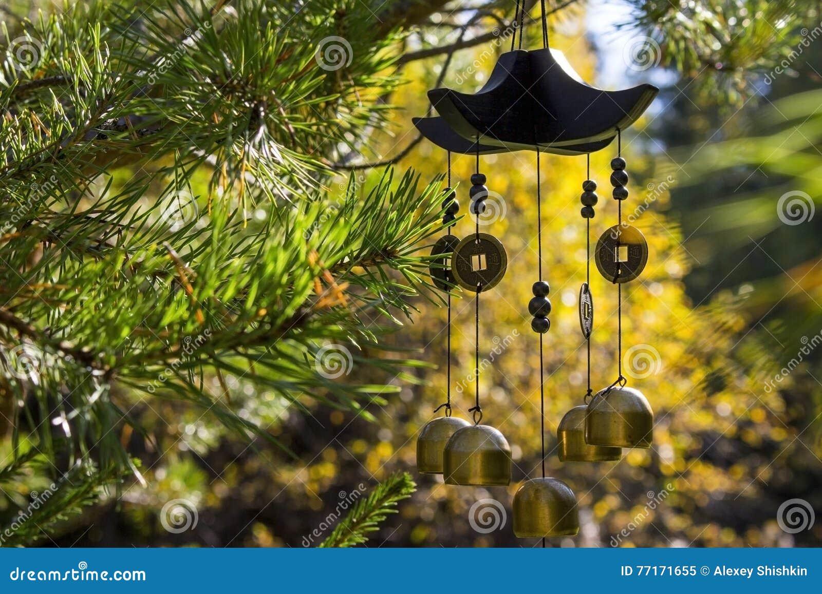 Carillon di vento nel giardino di autunno