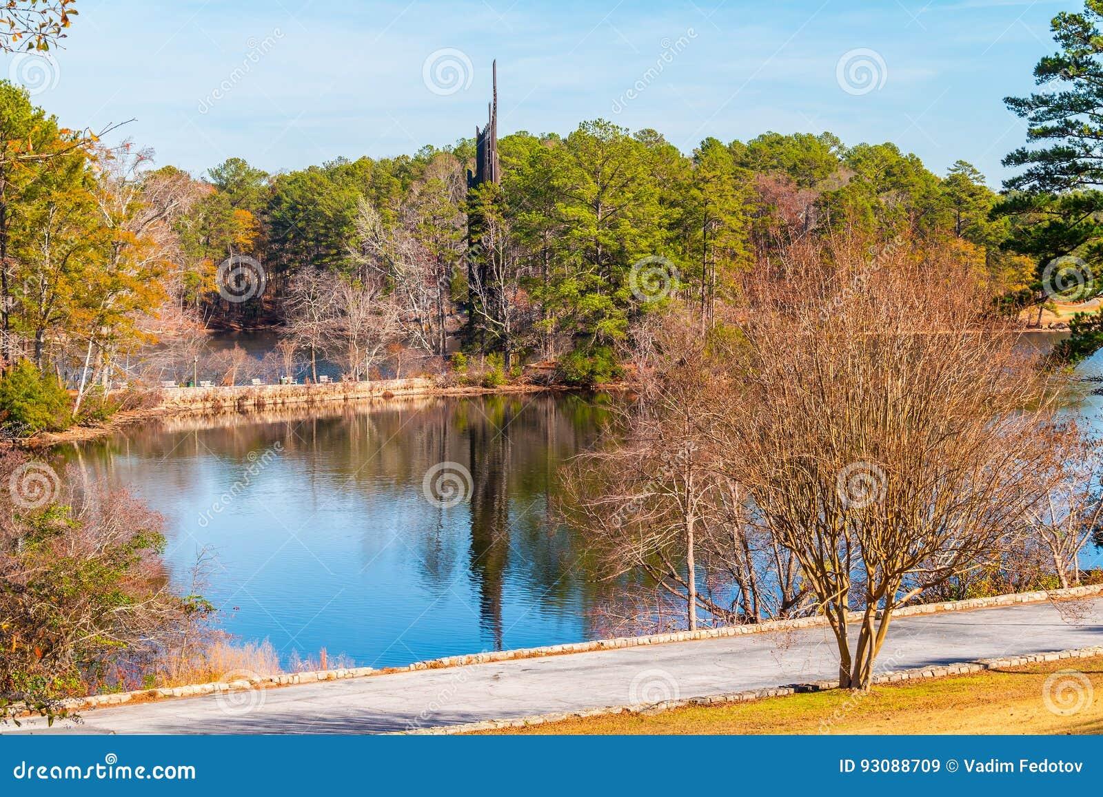 Carillon And Stone Mountain Lake Georgia Usa Stock Image Image