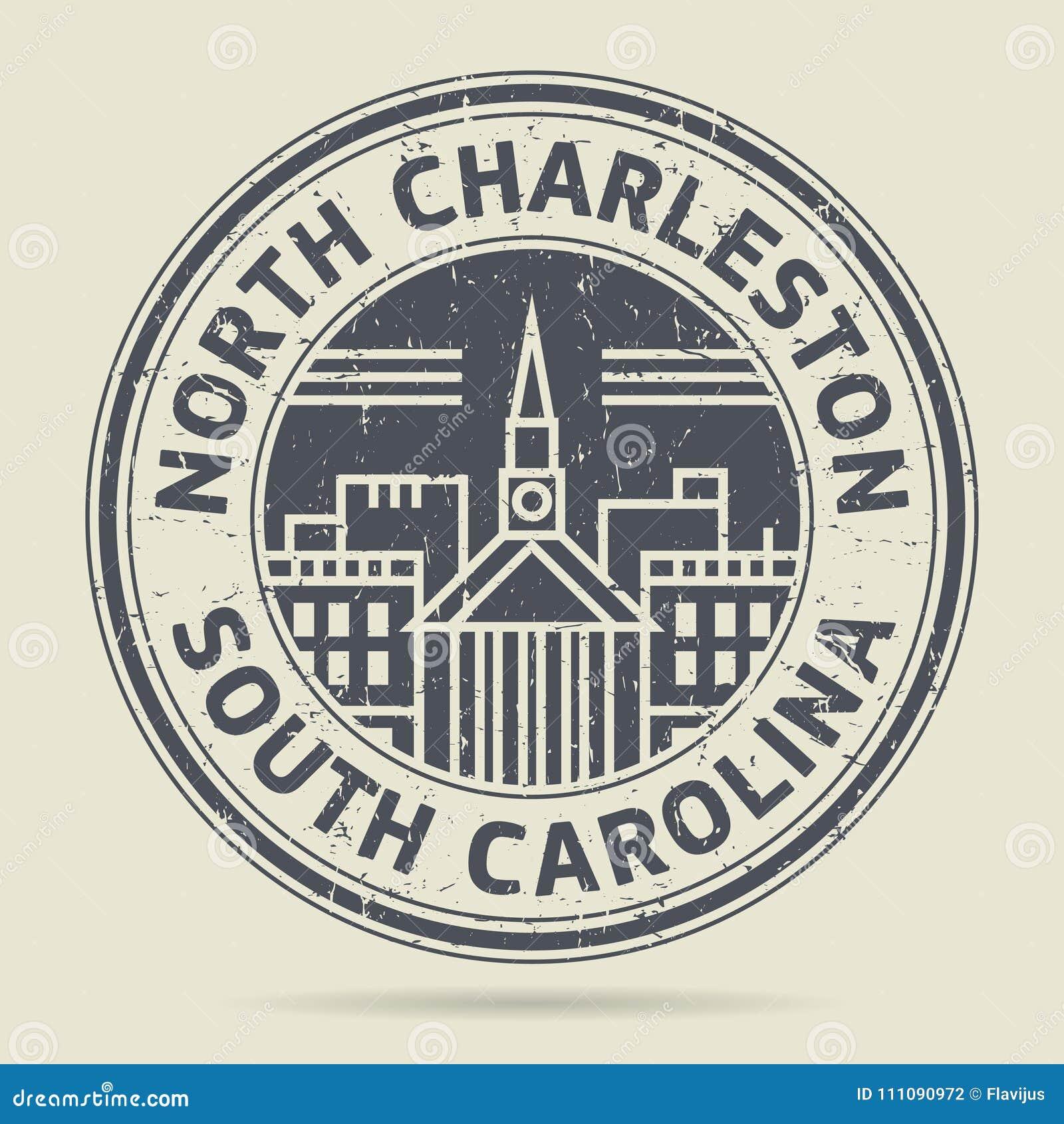 Carimbo de borracha ou etiqueta do Grunge com texto Charleston norte, C sul