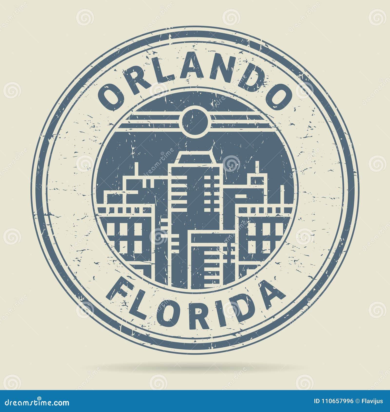 Carimbo de borracha ou etiqueta do Grunge com texto Orlando, Florida