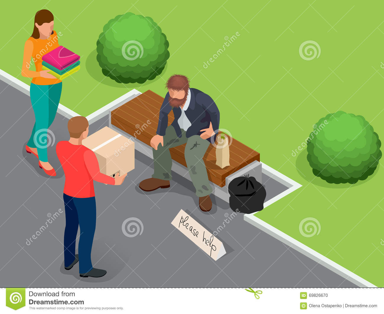 Caring for homeless. Help Homeless. Dirty homeless man holding sign asking for help. Flat 3d isometric vector