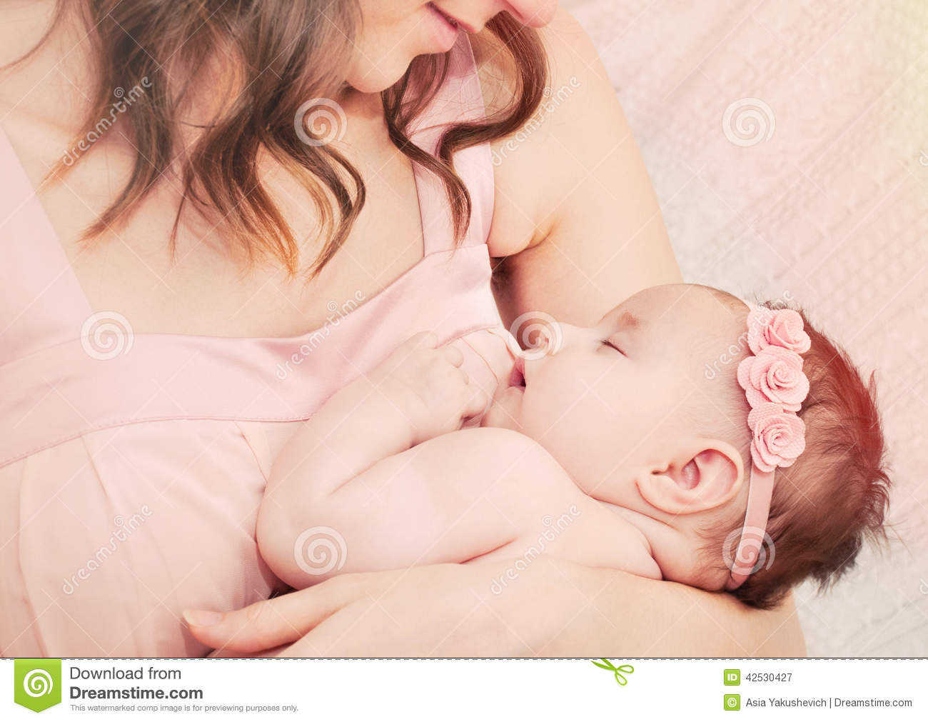 Caring Mother Holding With Love Her Little Cute Sleeping Baby Gi