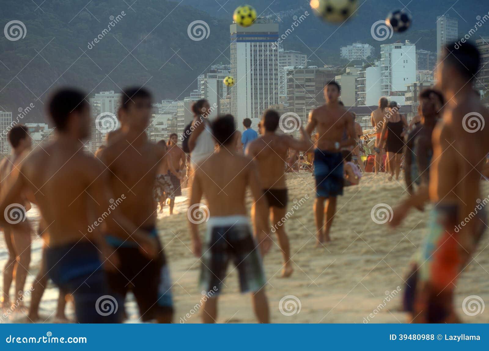 Carioca Brazilians Playing Altinho Futebol Beach F