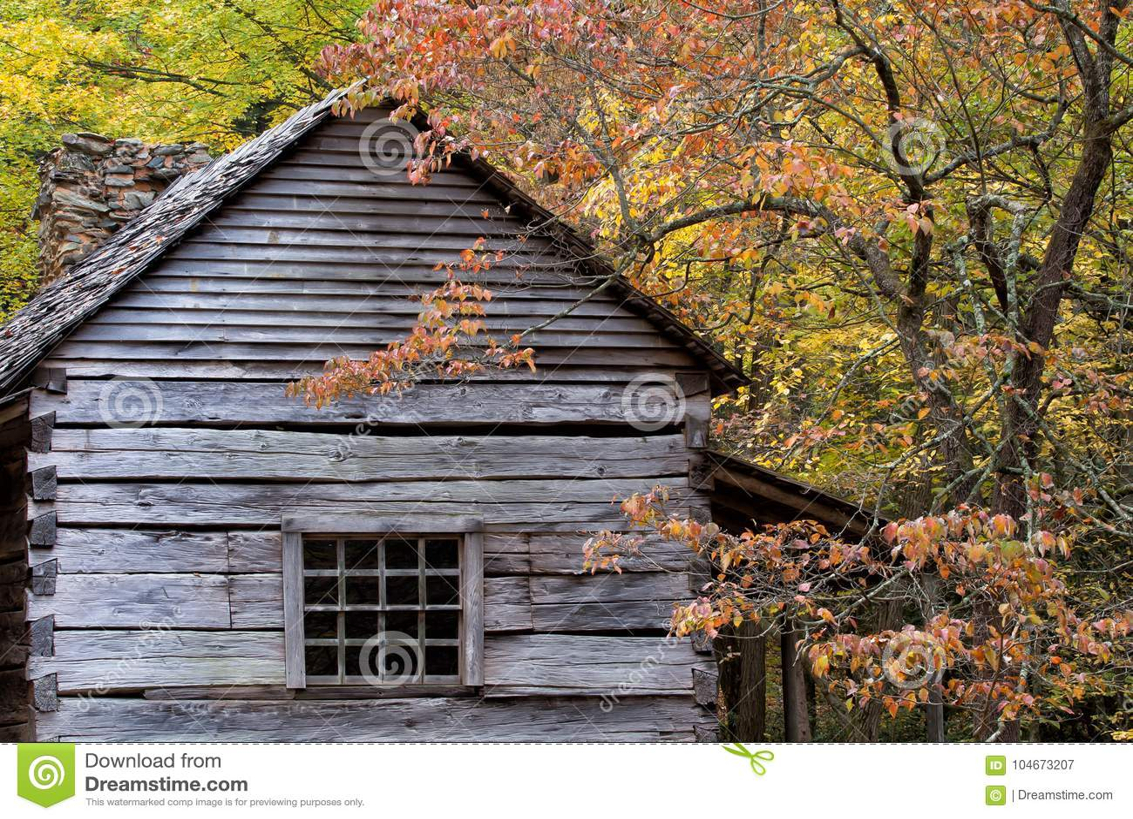 Carlingue de rondin rustique un jour d automne