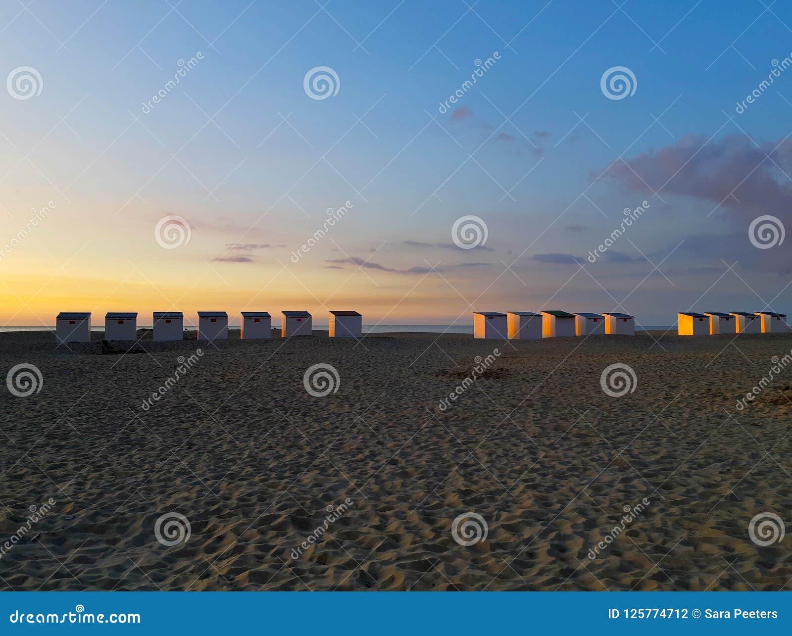 Carlingues sur la plage au coucher du soleil