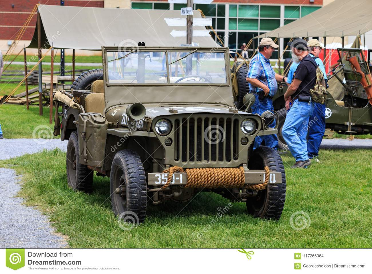 US WWII Army Jeep editorial stock image  Image of reenactment