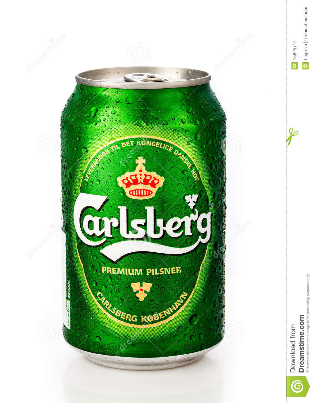 cold carlsberg can with water drops on white background with ...