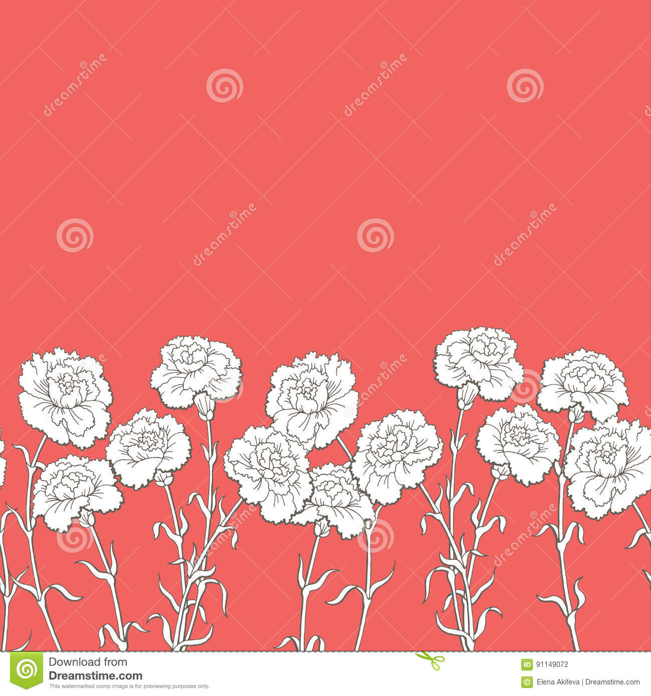 Carnation Flower Graphic Red Color Seamless Background Sketch ...