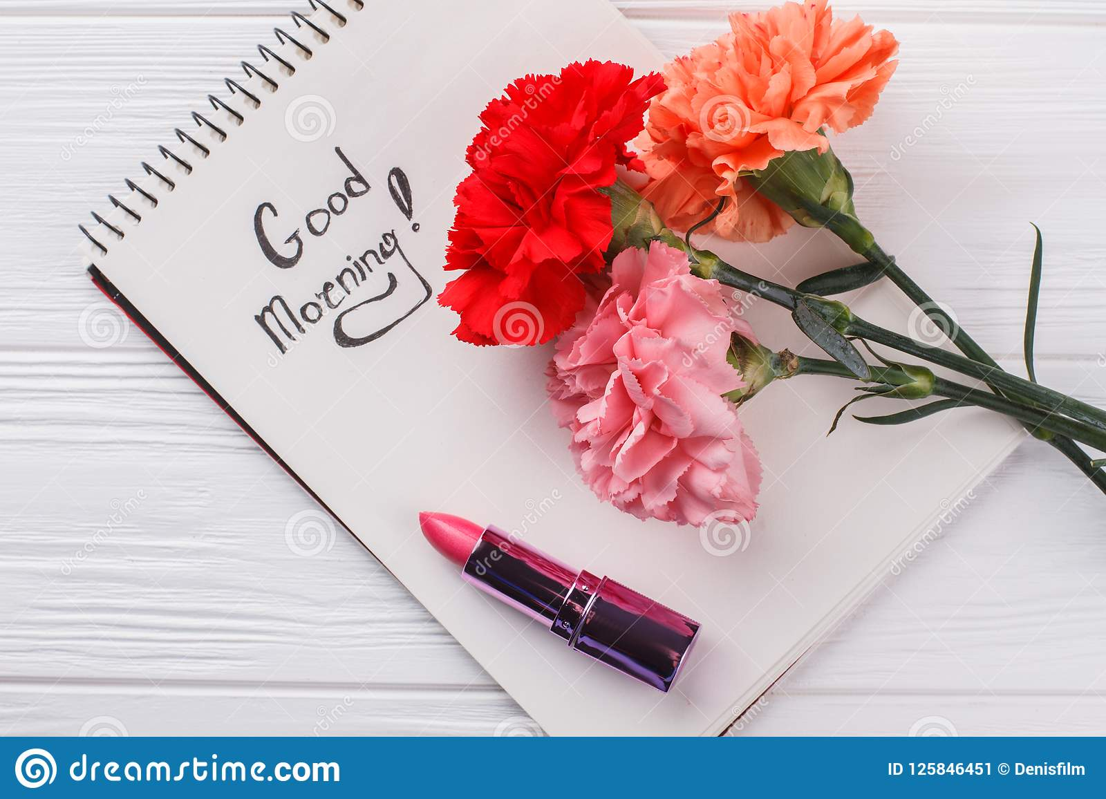 Carnation Flowers Good Morning Wish And Lipstic Stock Image