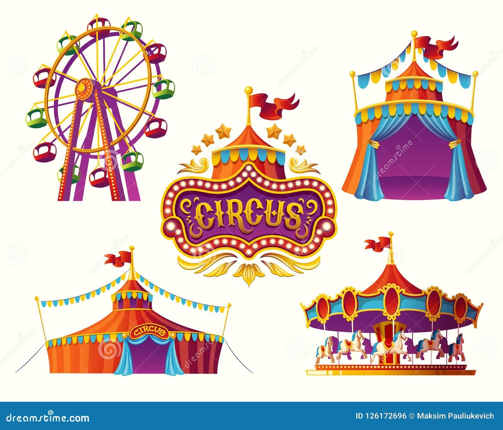 Carnaval-circuspictogrammen met een tent, carrousels, vlaggen