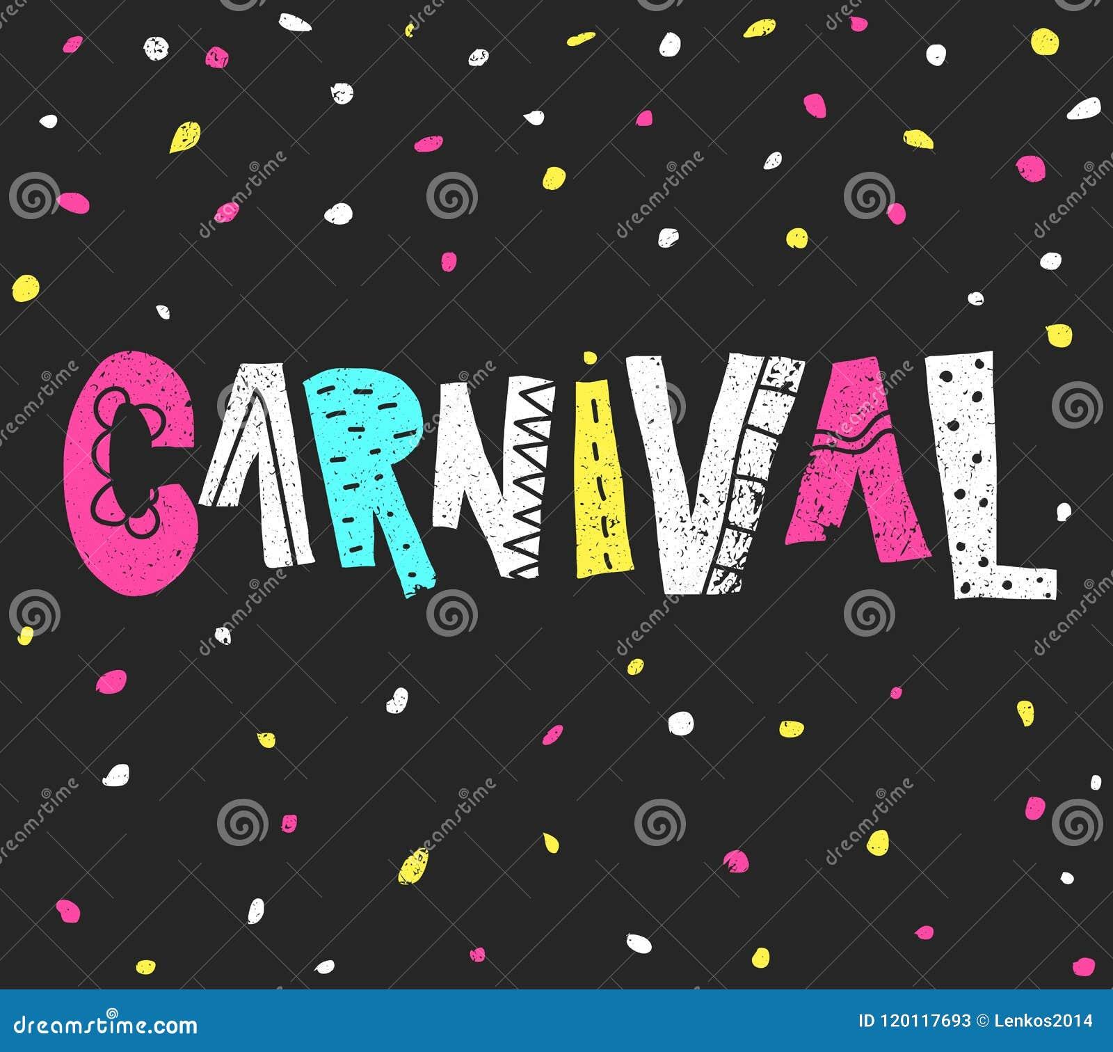 Carnaval populaire du Brésil d événement Titre avec les éléments colorés de partie Confettis colorés et lettrage grunge tiré par