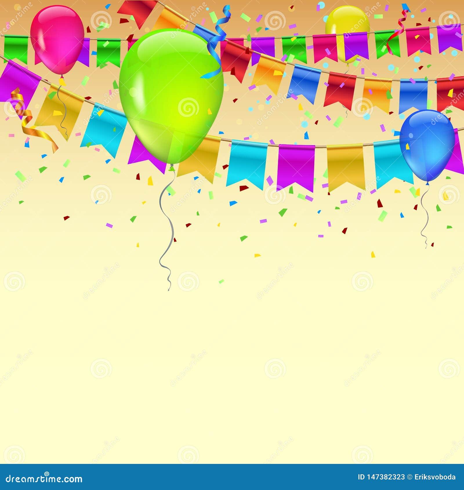 Carnaval-slinger met wimpels, confettien en vliegende ballons Decoratieve kleurrijke vlaggen voor verjaardag, festival en markt