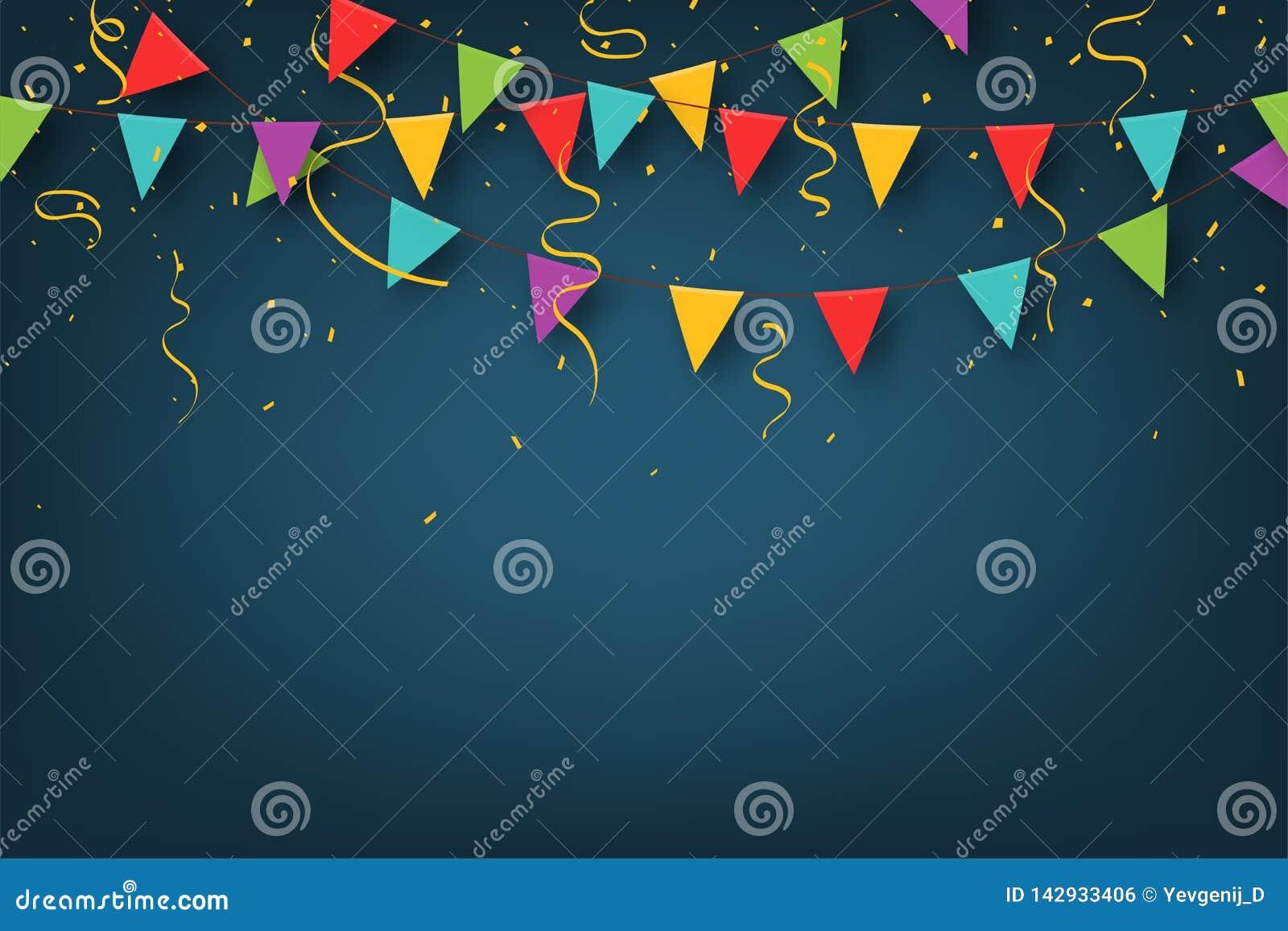 Carnaval-slinger met wimpels Decoratieve kleurrijke partijvlaggen met confettien voor verjaardagsviering, festival