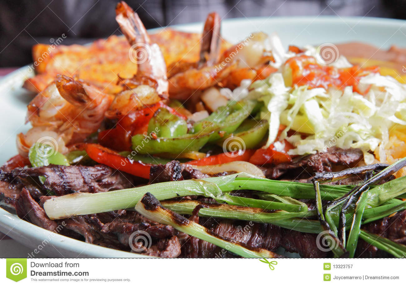 Carne Asada With Grilled Shrimp Royalty Free Stock Photography - Image ...