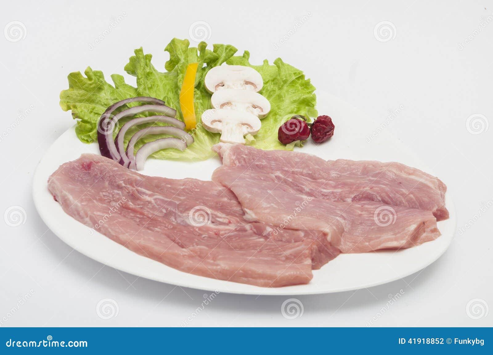Carne de cerdo sin procesar aislada