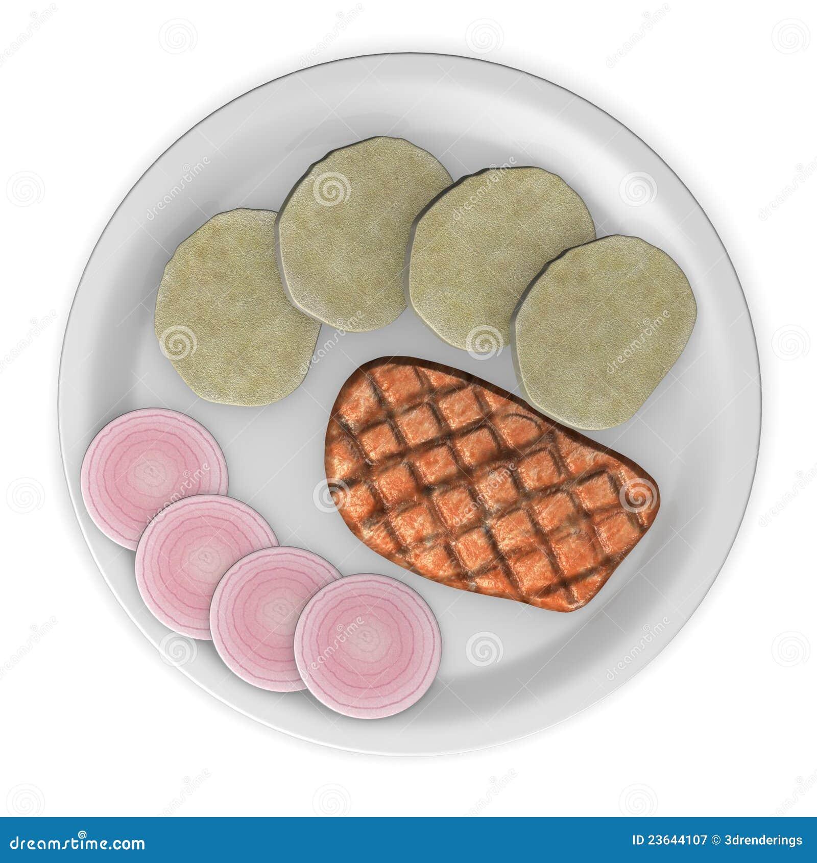 Carne de porco com cebola e bolinhos de massa