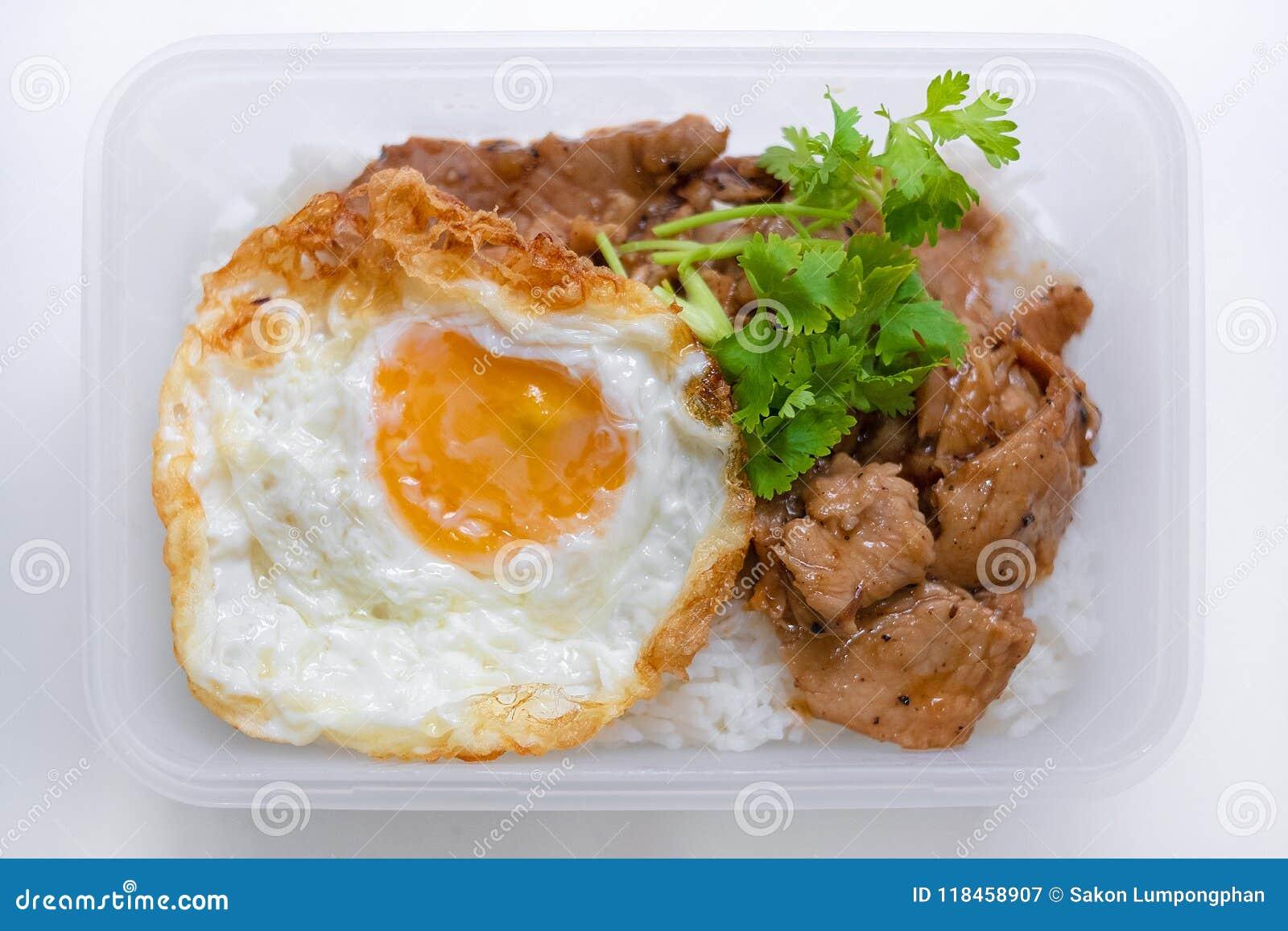Carne di maiale fritta con il pepe dell aglio e l uovo fritto su riso in isola della scatola