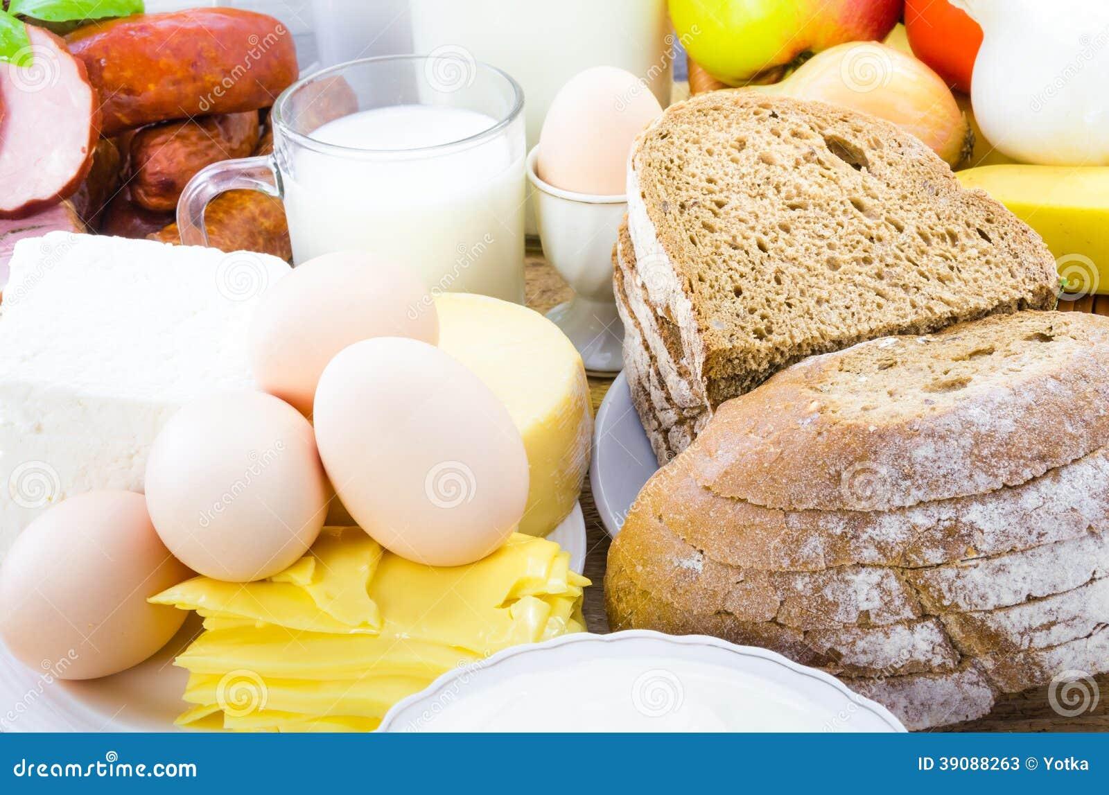 Carne diversa del pan de los productos lácteos de la comida
