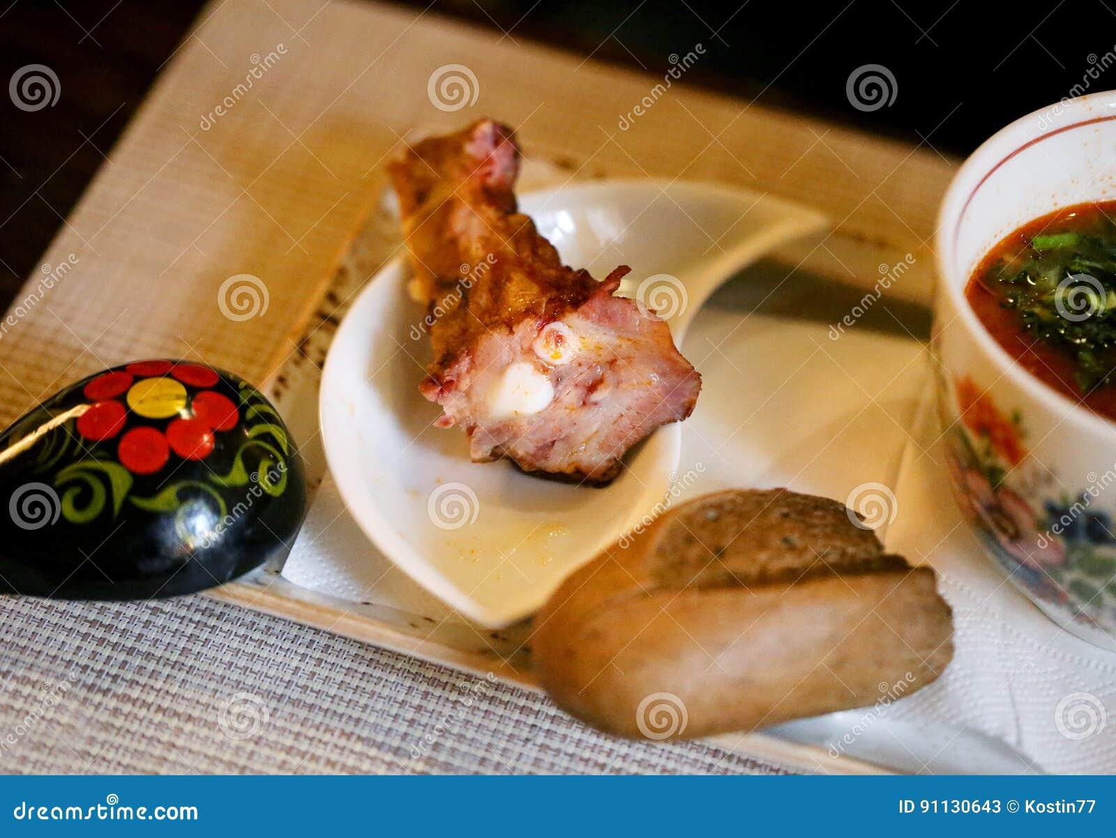 Carne macro do pé da foto à sopa