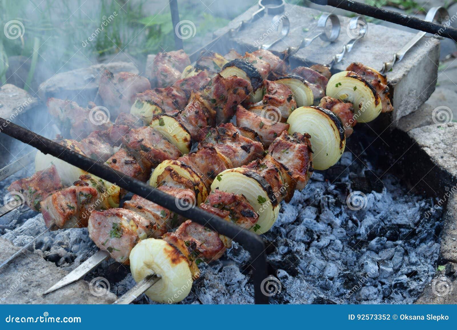 Carne marinata barbecue con la cipolla ed il bacon Shashlik o kebab che prepara sulla griglia sopra carbone in natura Skewere di