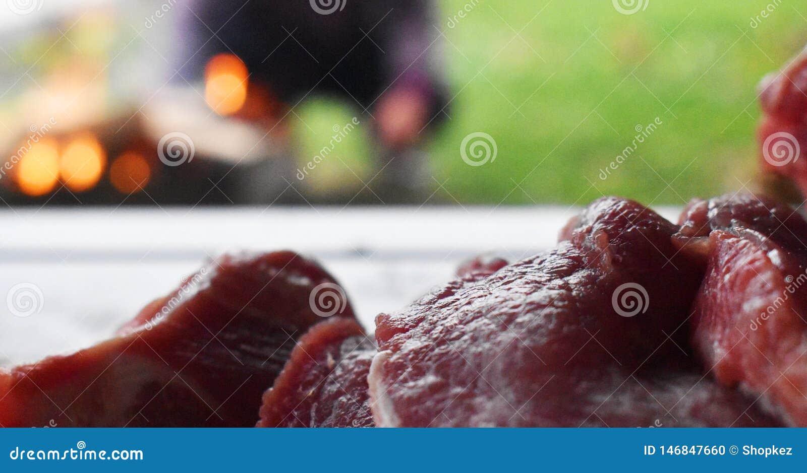 Carne roja cruda fresca en la tabla de madera lista para ser cocinado en la parrilla al aire libre del fuego Barbacoa en el jard?