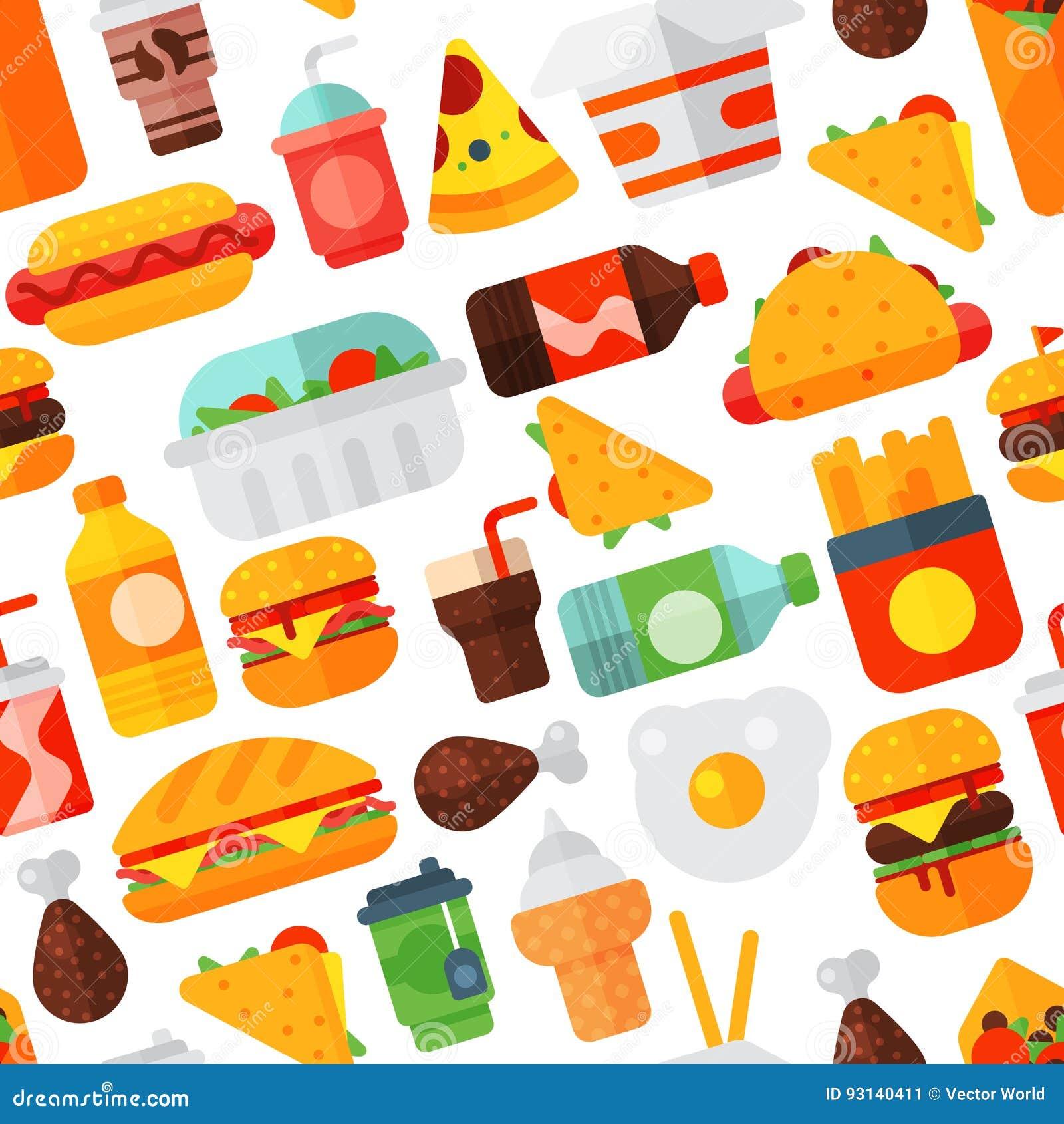 A carne saboroso do cheeseburger do restaurante dos ícones do fast food e a refeição insalubre vector o fundo sem emenda do teste