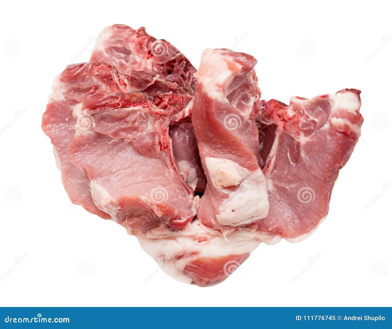 Carne suina su un fondo bianco