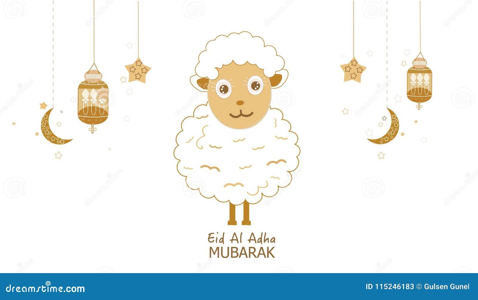 Carneiros com crescentes, lâmpada e estrelas Lanterna tradicional do cartão das noites da ramadã