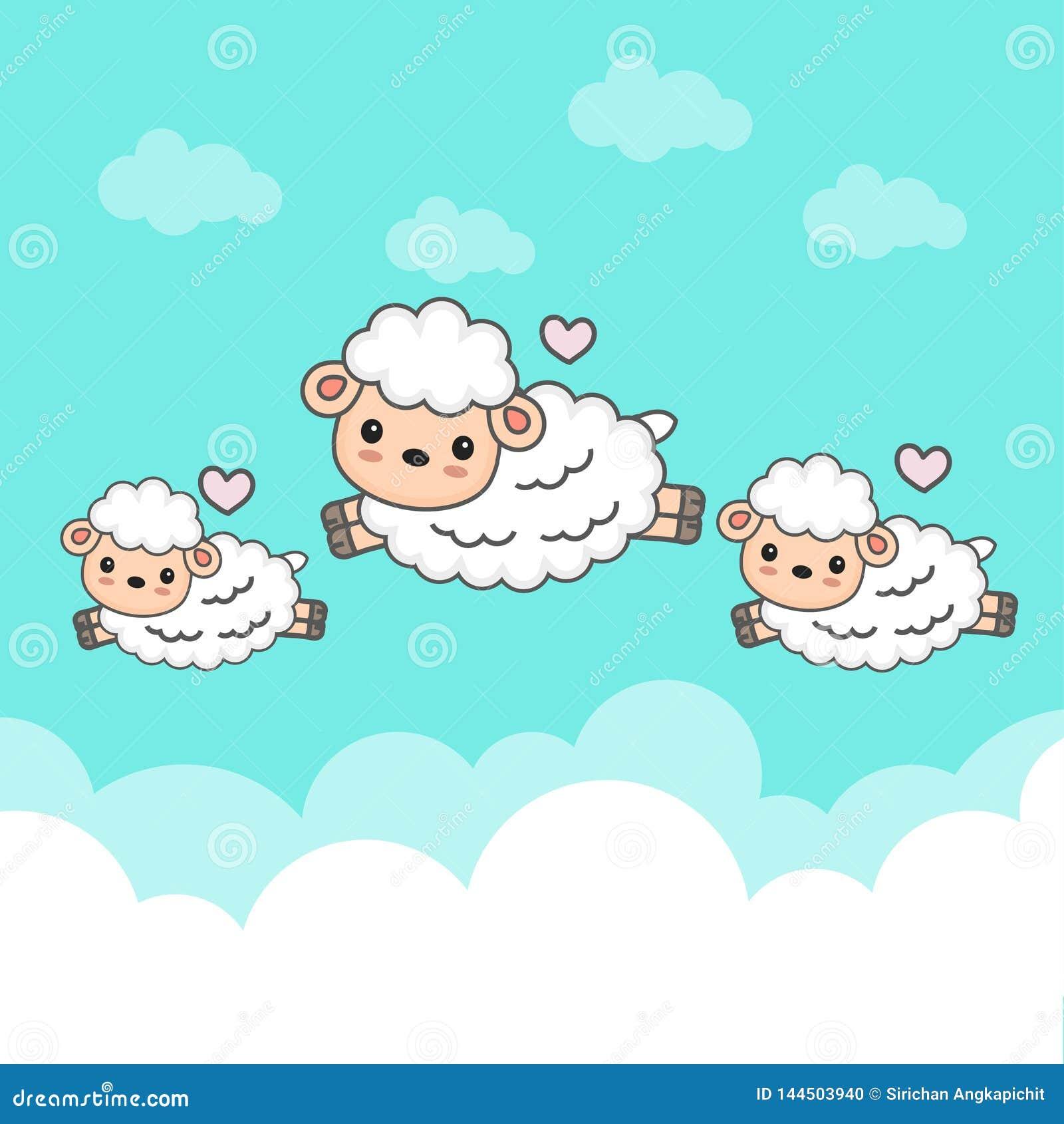 Carneiros contrários e bebê que saltam no céu