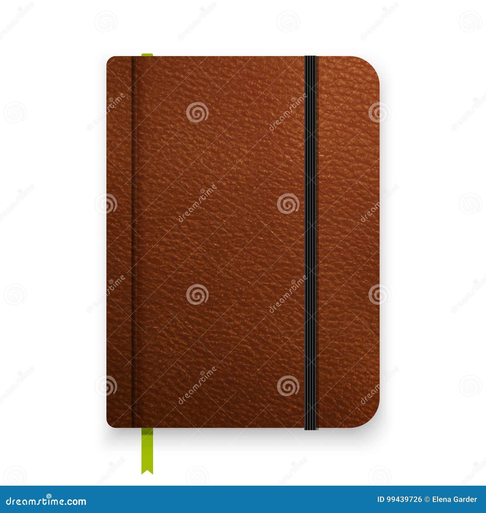 Carnet brun en cuir réaliste avec la bande élastique noire Calibre de journal intime de vue supérieure Maquette de bloc-notes de