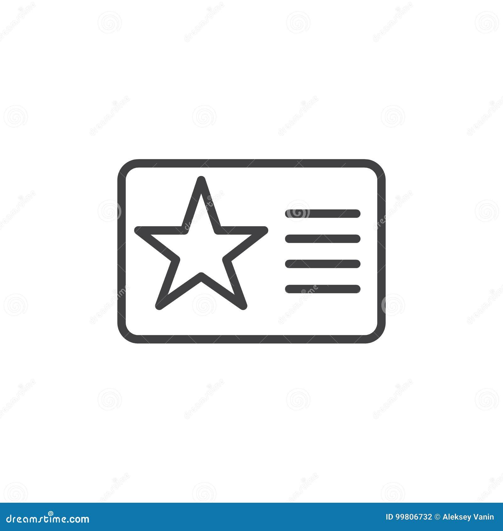 Carnet de socio con la línea icono de la estrella