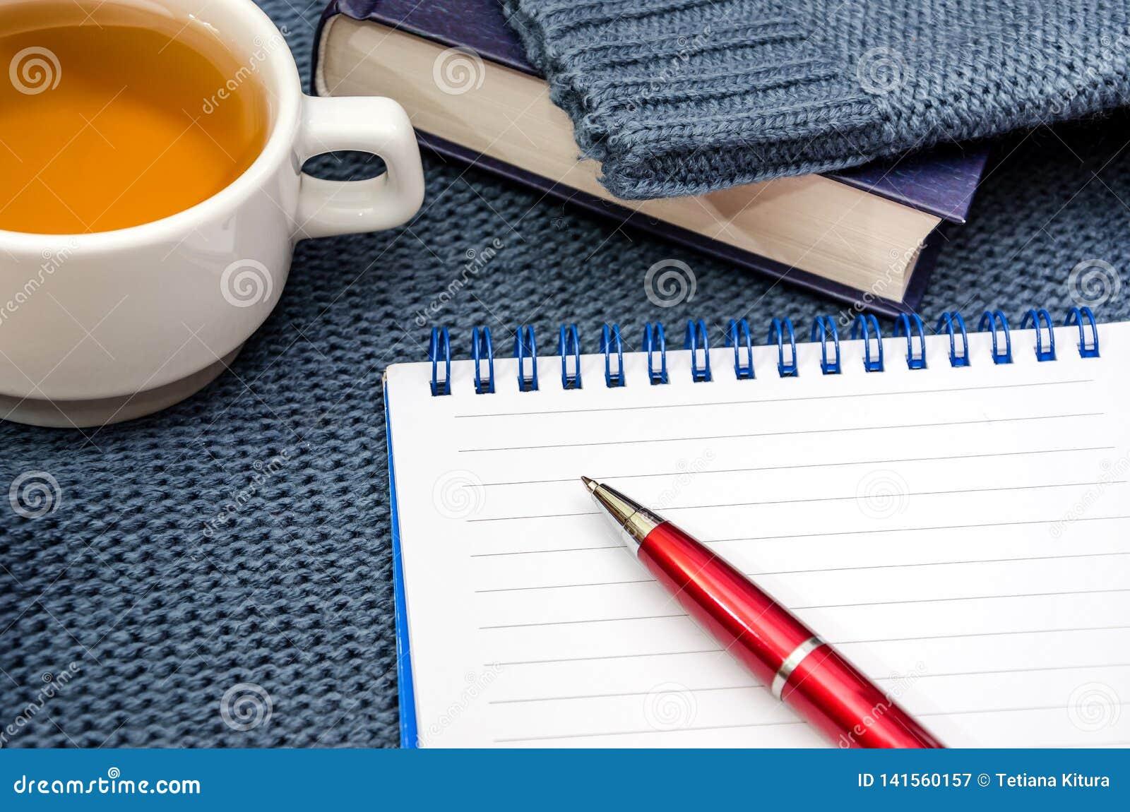 Carnet, stylo, livres et tasse de thé sur un chandail chaud et bleu