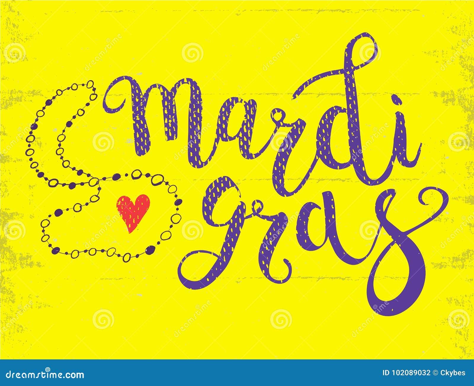 Carnevale Mardi Gras Brush Pen Sign Mardi Gras Calligraphic
