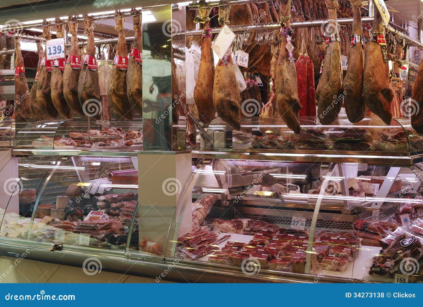 Carnicer a en mercado barcelona espa a foto de archivo - Carniceria en madrid ...