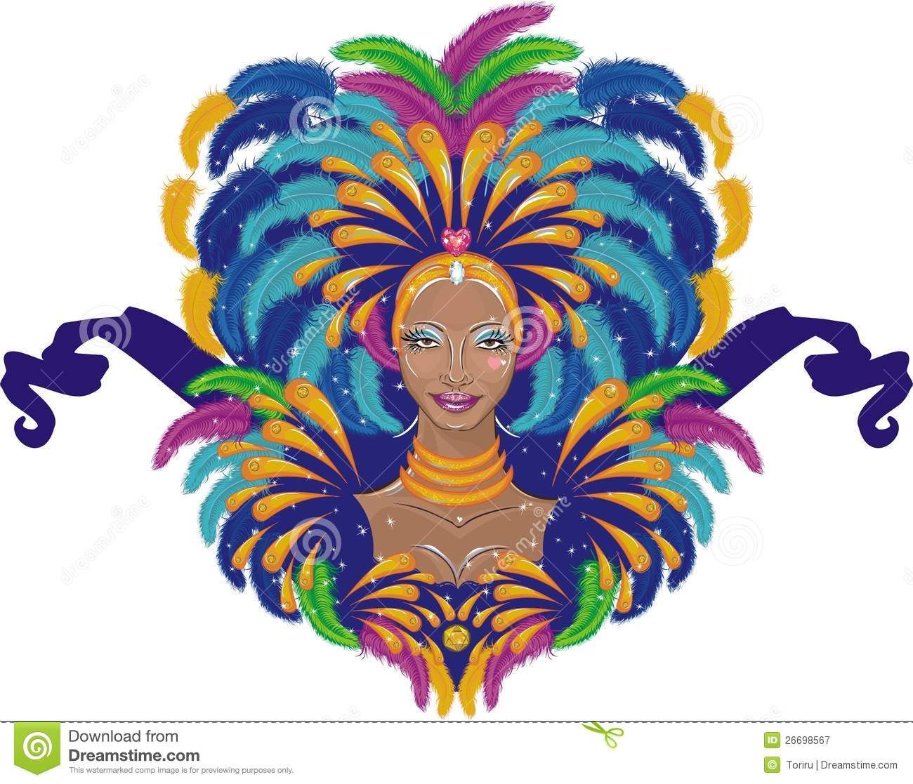 Beautiful carnival girl in traditional clothes vector illustration.