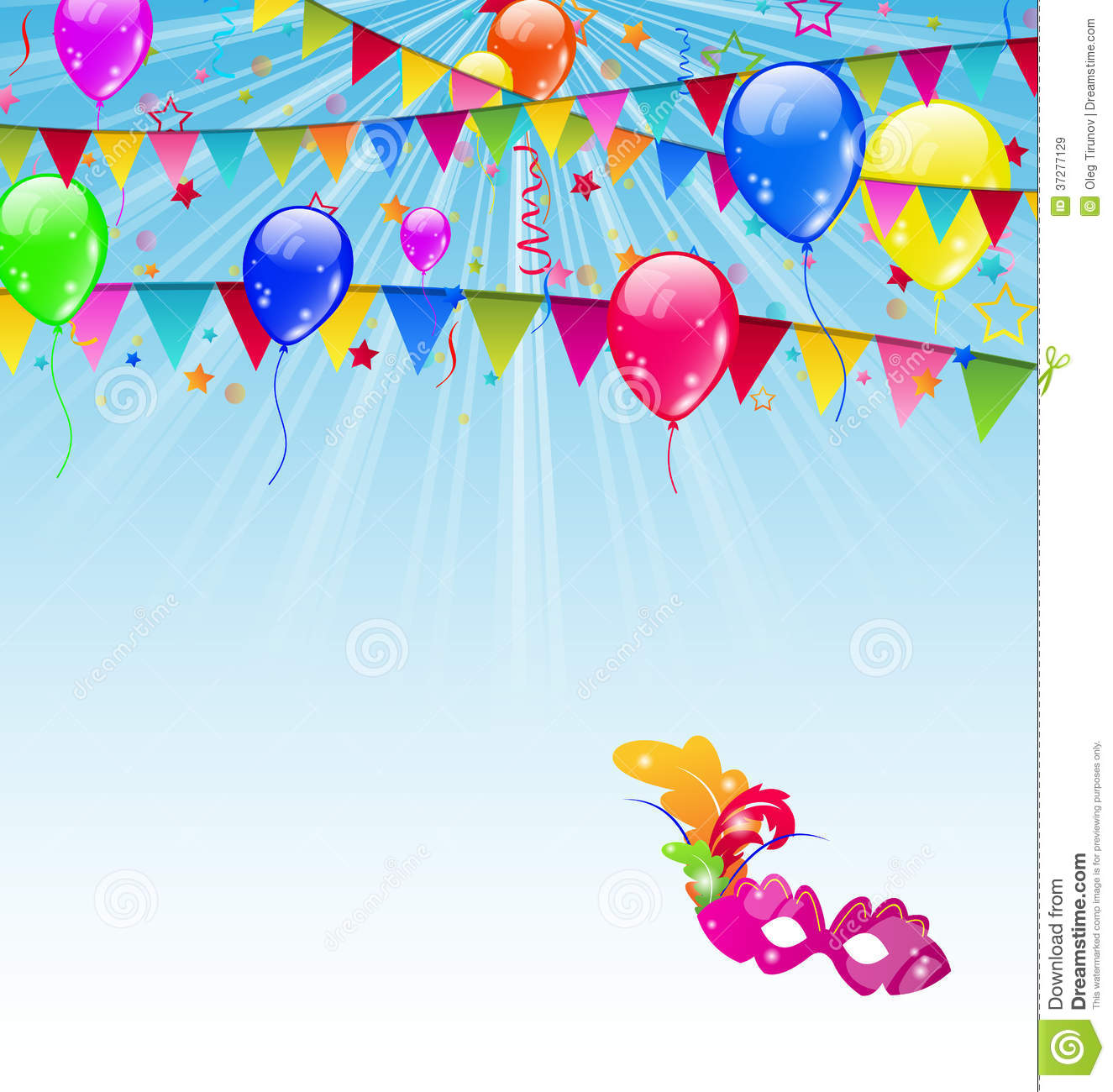 Carnival Background With Flags, Confetti, Balloons Royalty