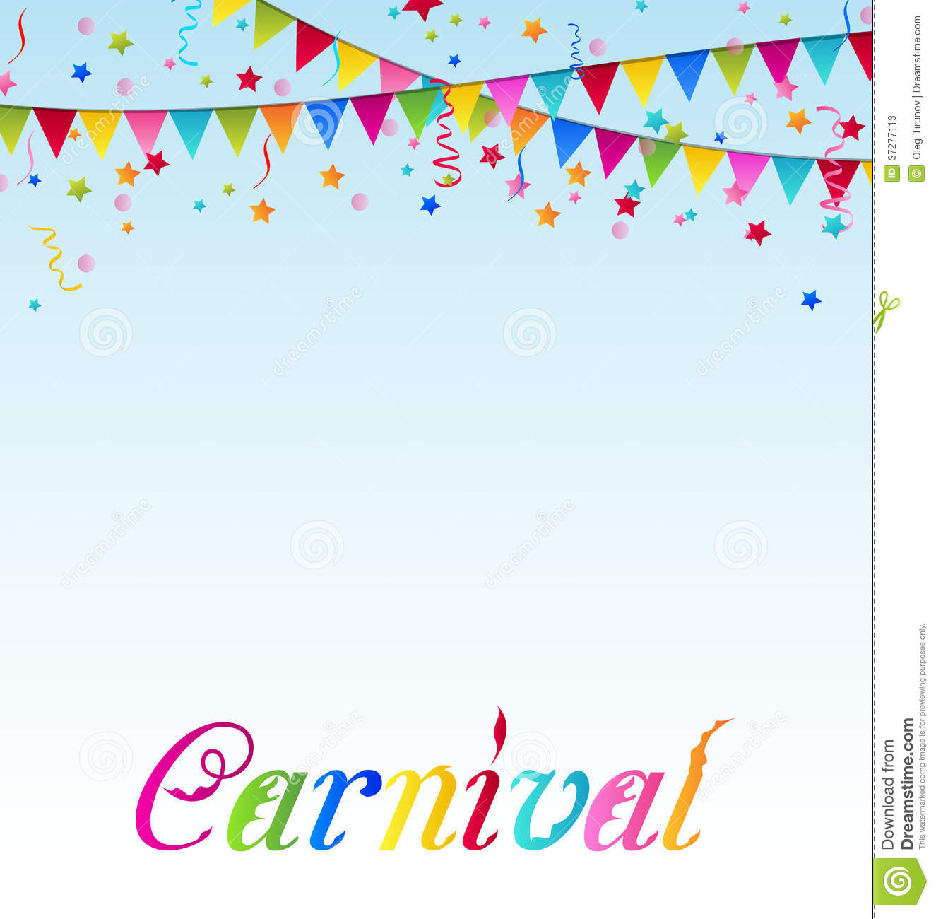 Carnival Background With Flags, Confetti, Text Stock Photos - Image ...