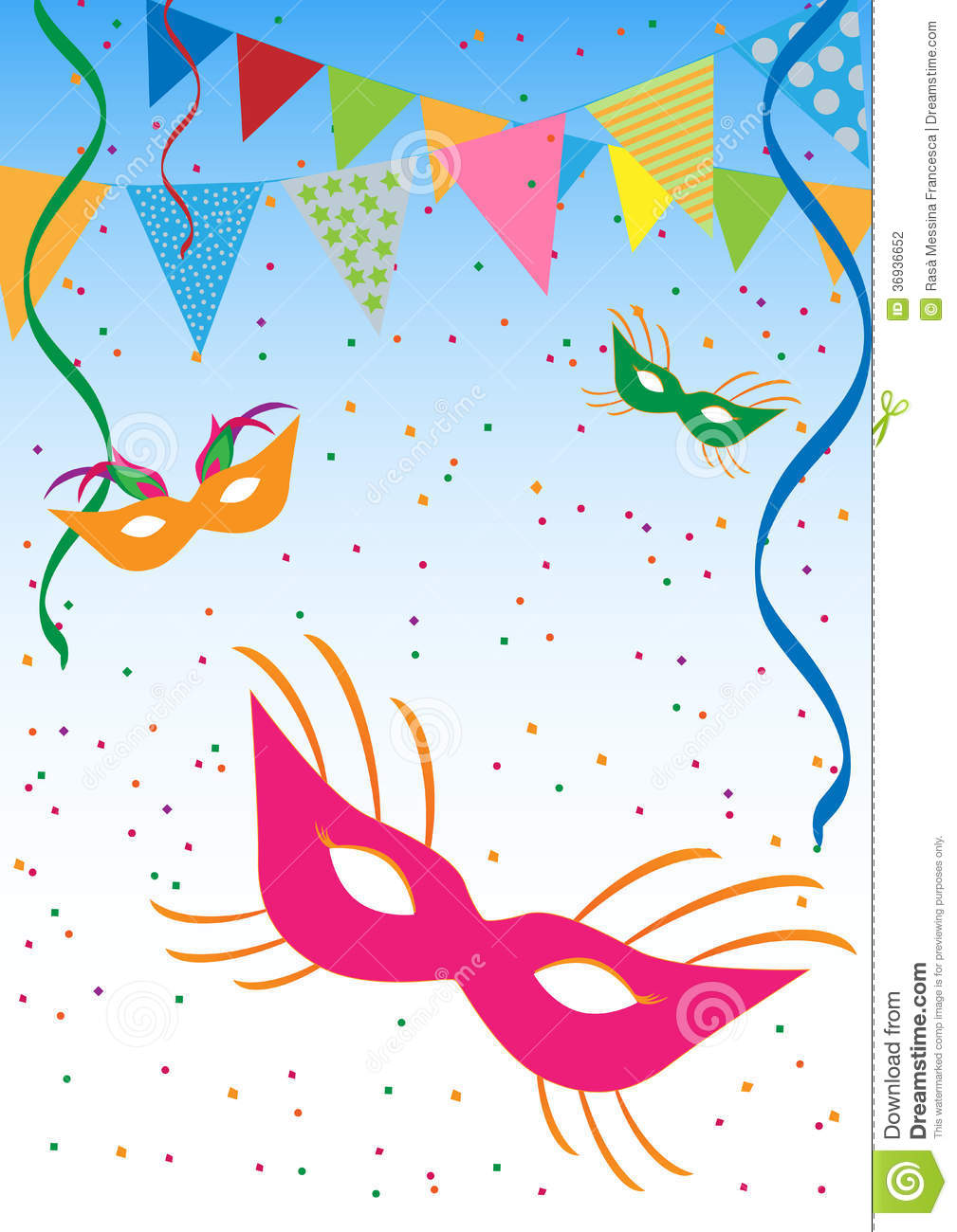 Carnival or mardi gras background with masks, confetti, ribbons and ...