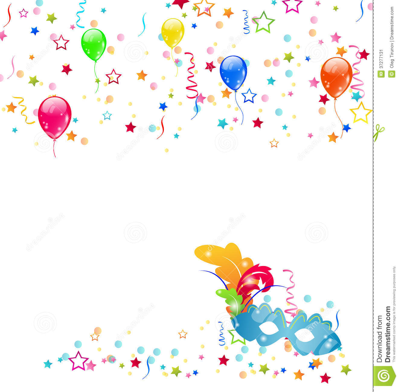 Carnival Background With Mask, Confetti, Balloons Stock Image - Image ...