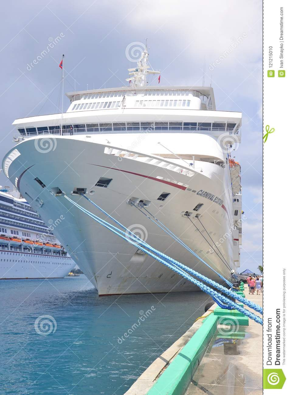 Carnival Ecstasy Cruise Ship Docked Editorial Image