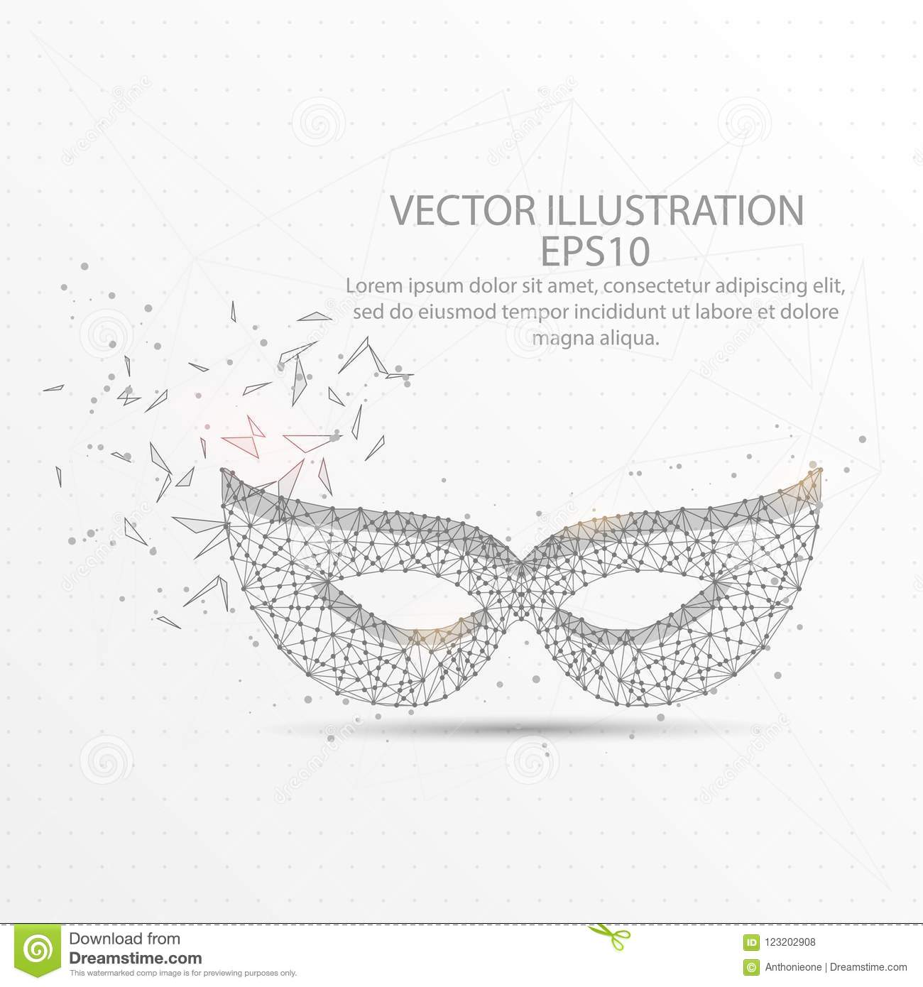 Carnival Face Mask Low Poly Wire Frame On White Background. Stock ...