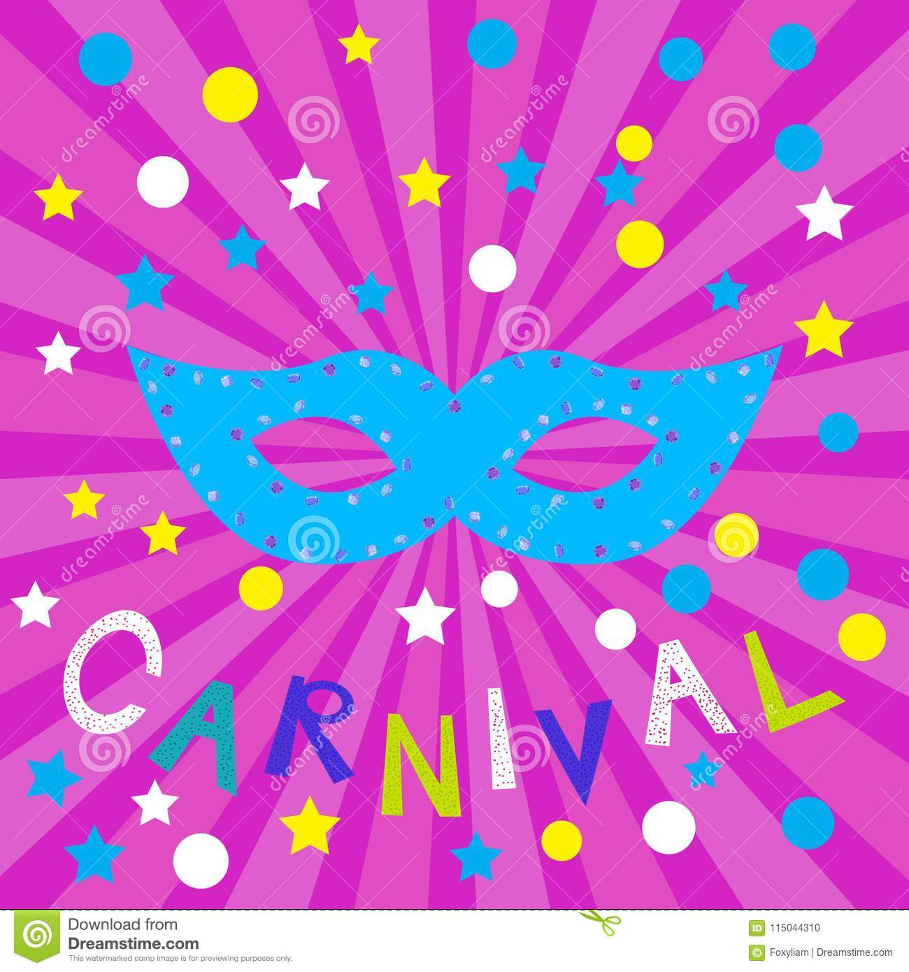 carnival festive card with color mask stock vector illustration of