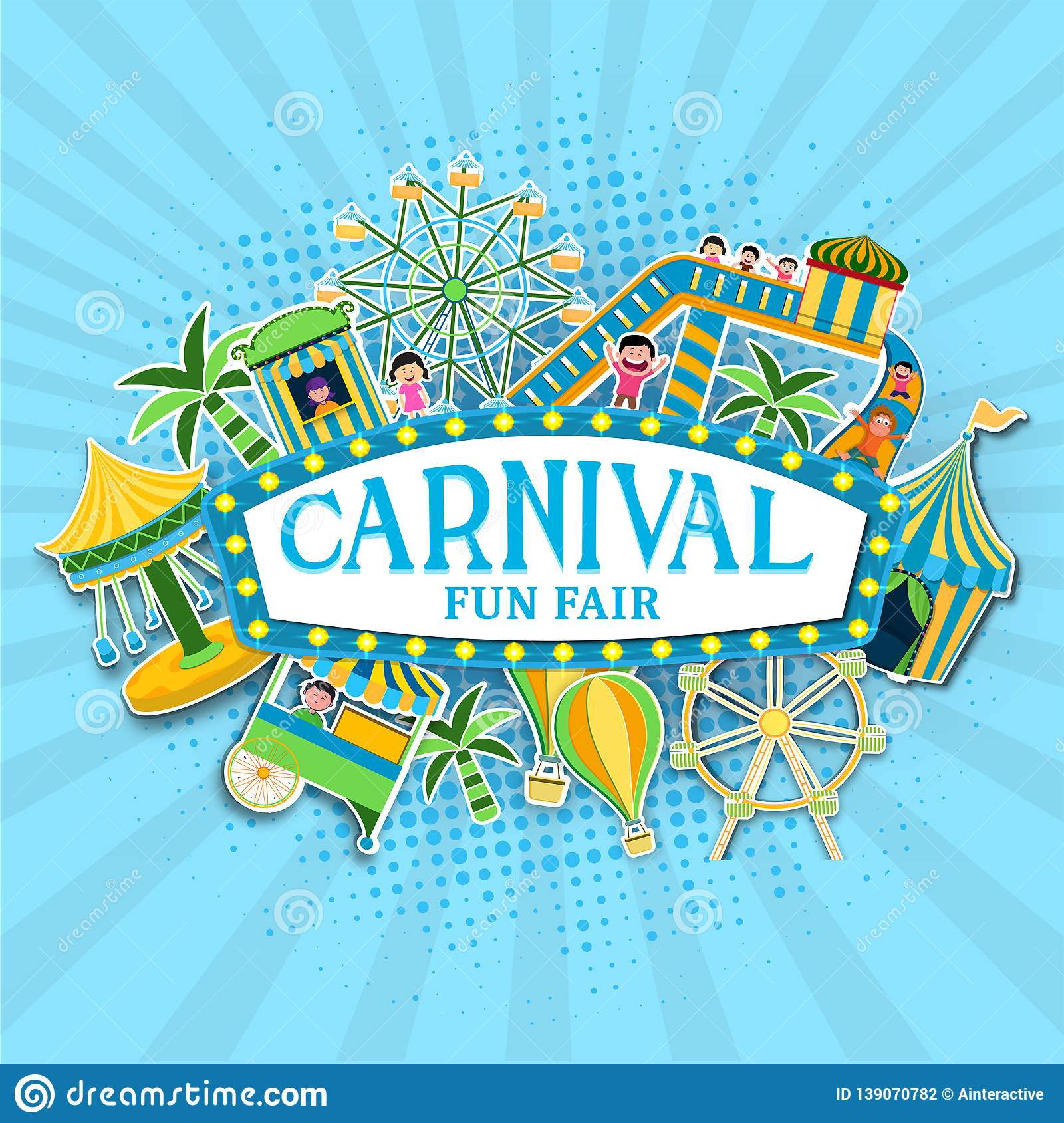 Carnival Fun Fair celebration background with sticker style tent house, ferris wheel, carousels.